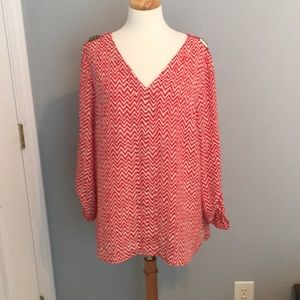 New Directions Red Chevron Top